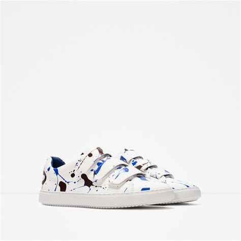 paint splatter sneakers zara multicolour paint splatter sneakers in white for