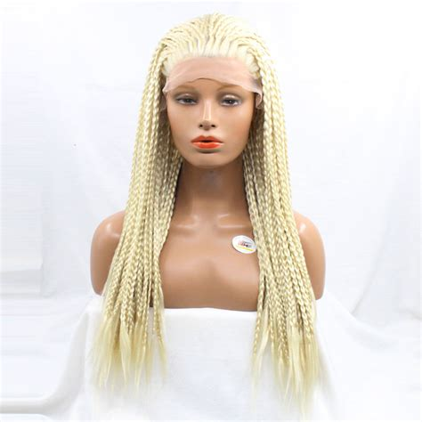 lace front african mirco braided wigs dlme hand making blonde micro braided wigs heat resistant