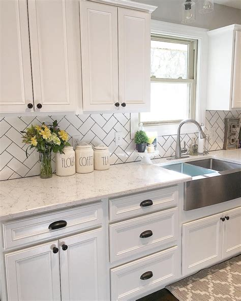 farmhouse kitchen cabinet hardware white kitchen kitchen decor subway tile herringbone