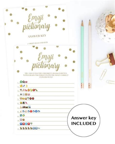 emoji pictionary baby shower game gold confetti printable
