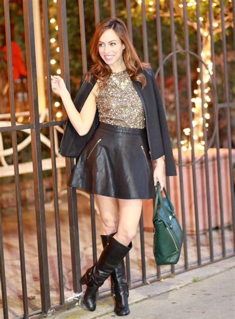 sydne style sequin top cape jacket leather skirt a line