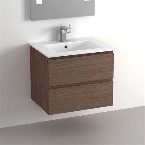 meuble salle de bain 60 cm noyer 2 tiroirs plan