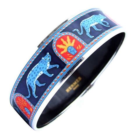 Hermes Enamel Printed Bracelet Panthers Blue Phw Size 65 at 1stdibs