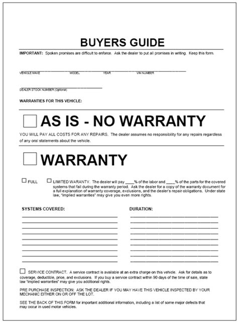 used car warranty template this form by is to be displayed on any vehicle that