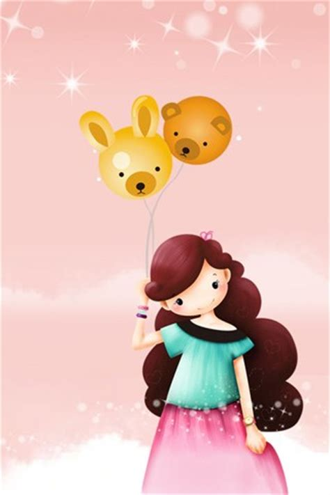 cute themes in cellphone cute girl with bear balloon for apple free iphone