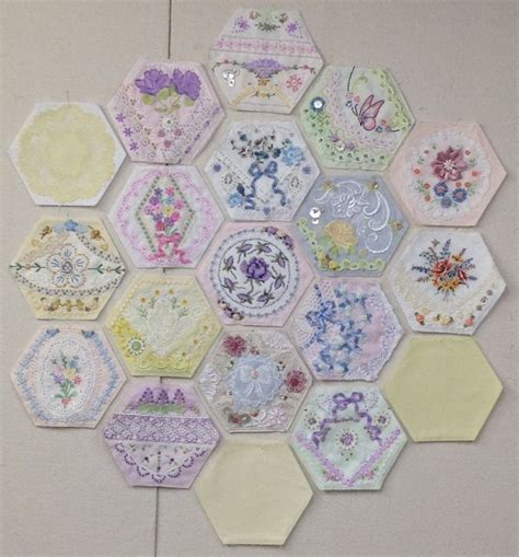 Hexagon Patchwork Projects - 102 best images about quilts with embroidery on