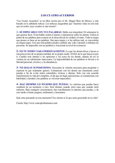libro por cuatro esquinitas de resumen los cuatro acuerdos 11 mar 2013