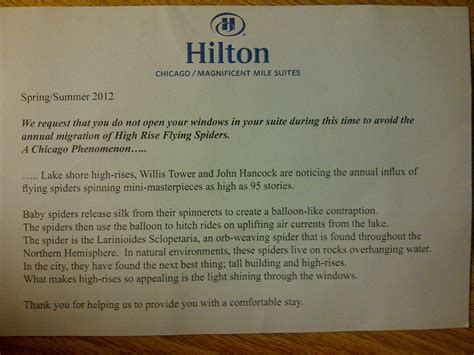 Thank You Letter Hotel To Guest ballooning spiders at the chicago 171 why evolution