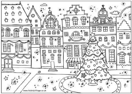 coloring pages christmas village christmas street colouring page