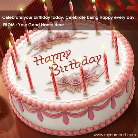 Happy Birthday Cake Images With Quotes Beautiful White Birthday Cakes With Candles And My Name