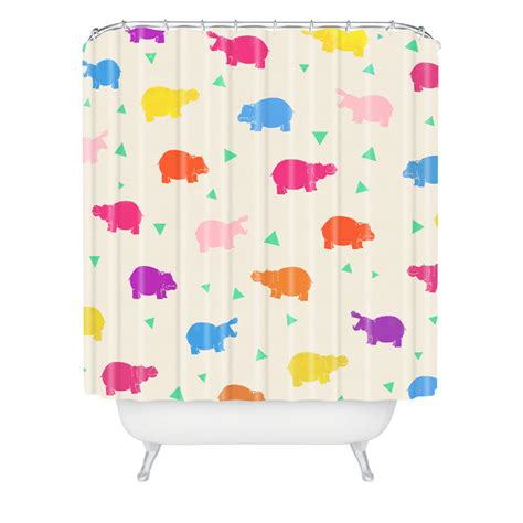 hippo shower curtain happy hippo party shower curtain by deny designs