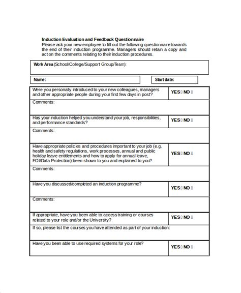 induction questionnaire template sle hr feedback form 8 free documents in pdf doc