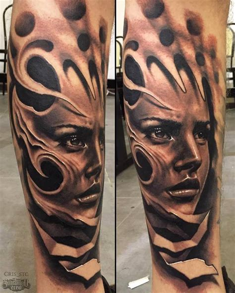 black and grey universe tattoo fresh realistic portrait tattoo from cris sake tattoo crew