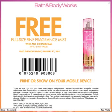 printable pers coupons canada 2014 bath body works canada coupons free fine fragrance mist