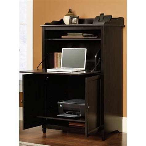 edge water computer armoire sauder edge water estate back desk with shelves 413092