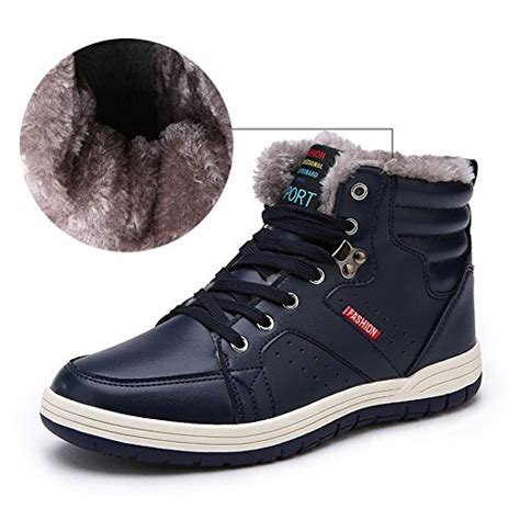 Lace Up Snow Shoes mens leather snow boots lace up ankle sneakers high top