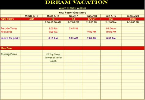 vacation day itinerary template calendar template 2016