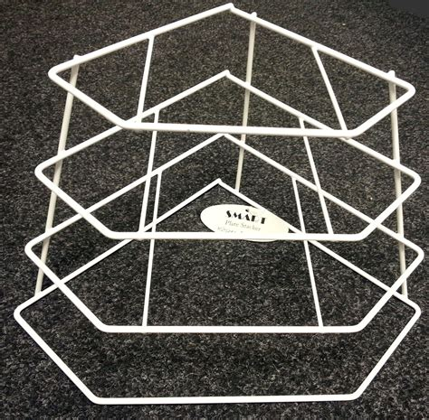 Tiered Plate Rack by White Plastic Coated Wire 4 Tiered Corner Plate Stand Rack