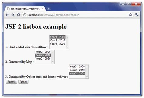 Html Tutorial Listbox | programming tutorial jsf 2 listbox exle