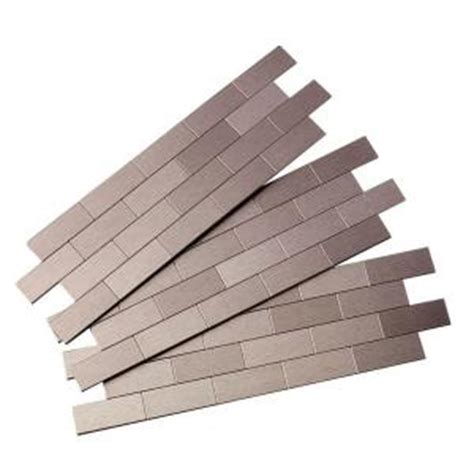 home depot backsplash tile aspect subway matted 12 in x 4 in metal decorative tile