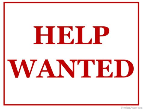 Help Wanted Sign Printable printable help wanted sign