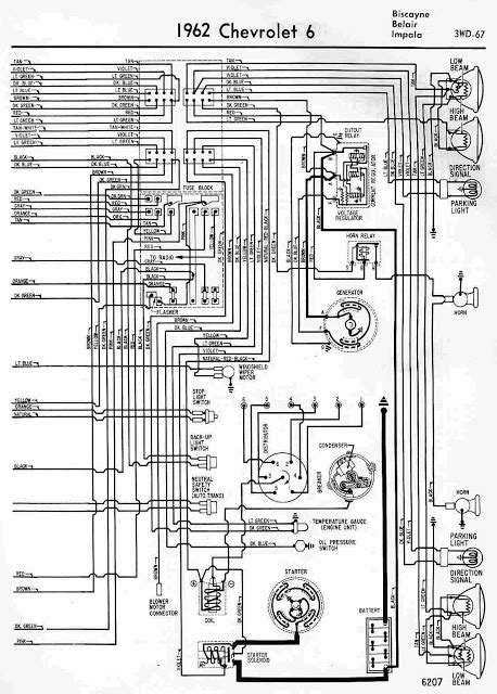 1962 Chevrolet 6 Biscayne, Belair and Impala Wiring