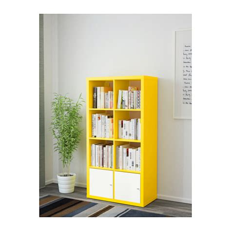 kallax shelving unit with doors yellow white 77x147 cm ikea