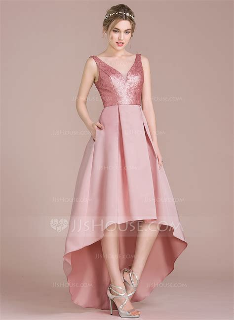 Bridesmaid Dress by A Line Princess V Neck Asymmetrical Satin Sequined