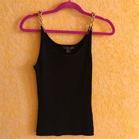 Chain Size L 57 tops tank top camisole black with gold chains