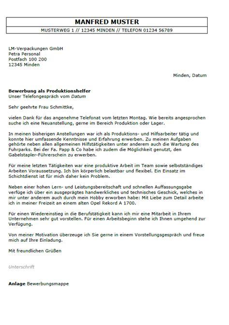 Initiativbewerbung Anschreiben Produktionsmitarbeiter initiativbewerbung produktion muster anschreiben 2018