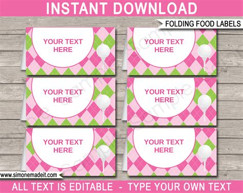 food cards for buffet template golf theme food labels place cards golf