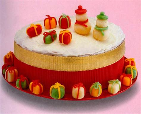 sweet cake decoration with marzipan fruits flowers and