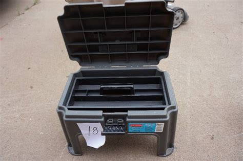 Step Stool Toolbox by Rubbermaid Model 7768 Combination Step Stool And Tool Box