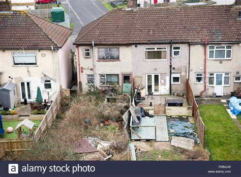 house garden fifties 1840916621 ariel view of a neighbours from hell slum former 1950s council house stock photo royalty free