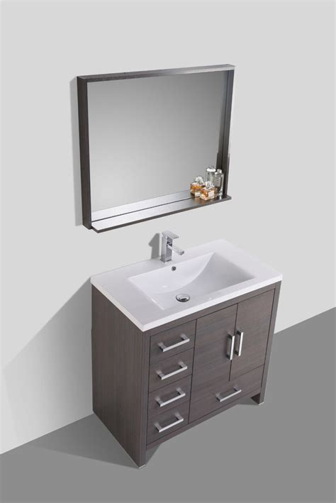 bathroom vanities with drawers on left side moreno 36 gray oak modern bathroom vanity w acrylic sink