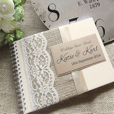 Handmade Wedding Book - details about hessian burlap and lace ivory wedding guest