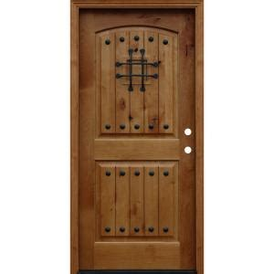 alder wood front doors pacific entries 36 in x 80 in rustic arched 2 panel v