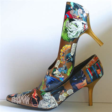 Decoupage High Heels - decoupaged batman comic high heels womens size 9 dc