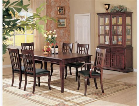 coaster dining room set 7 pc cherry wood dining room set table chairs leather seat