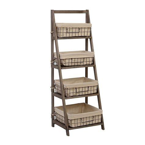gray storage basket wooden ladder shelf wooden ladder