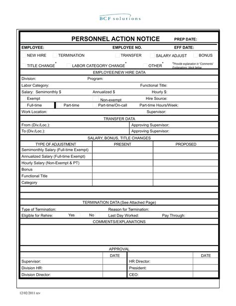 payroll change notice form template template payroll change notice form template personnel