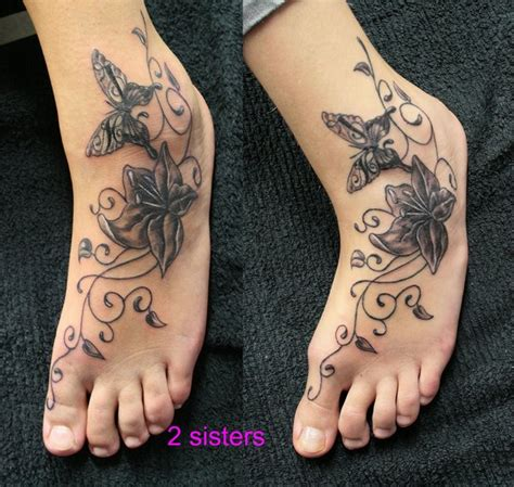 sister foot tattoos tat butterfly flower by 2face on deviantart
