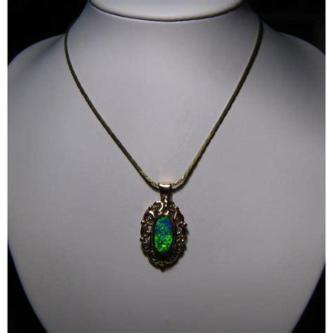 green opal necklace green opal pendant 14k gold fancy design opal pendant