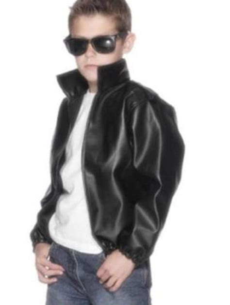 boys greaser costume black leather boy s grease t birds leather look jacket 1950s costumes