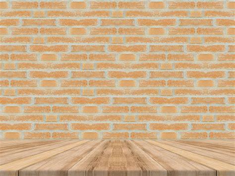 tabuleiro de madeira tropical vazio  parede de tijolos