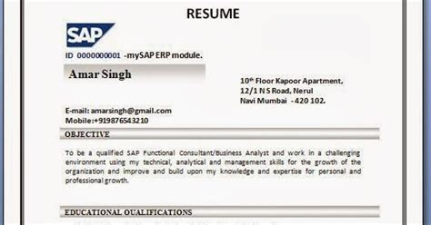 Sample Resume For Fresher Computer Science Engineer by Sap Sd Resume Format