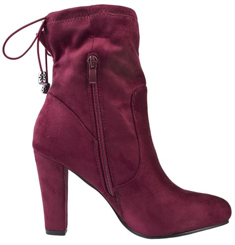 Faux Suede High Heel Ankle Boots womens high heel ankle boots adjustable tie top faux suede