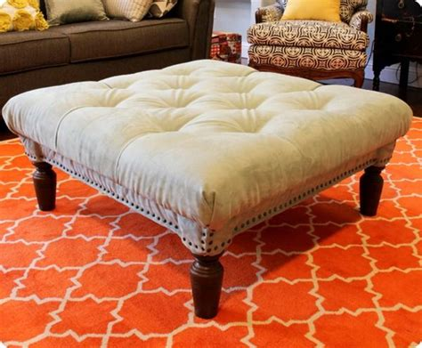 making an ottoman out of a coffee table diy diamond tufted ottoman