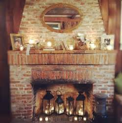 Inside Fireplace Decor A Beautiful Rustic Brick Fireplace With Glowing Lanterns