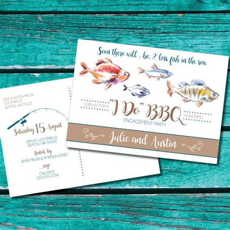 fishing theme engagement invitation two less fish in the sea fishing engagement